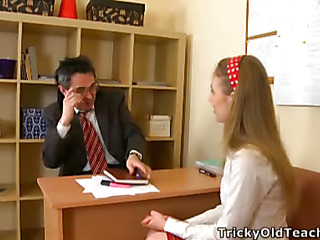 Cute hottie came to the teacher's berth and acceded to please him. The old timber pets her nick scrimp vagina.